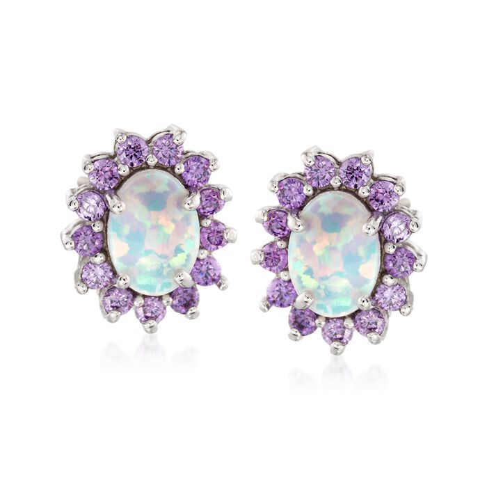Simulated Opal and Simulated Amethyst Oval Stud Earrings in Sterling Silver, , default