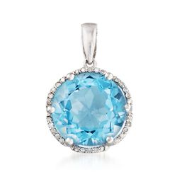 6.25 Carat Sky Blue Topaz and .10 ct. t.w. Diamond Pendant in Sterling Silver, , default