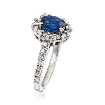C. 1990 Vintage 1.10 Carat Blue Topaz and .50 ct. t.w. Diamond Ring in 14kt White Gold. Size 5.25