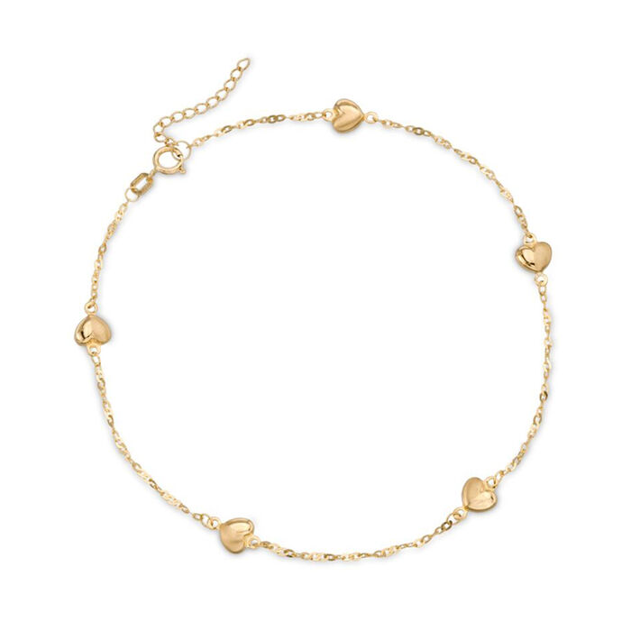 14kt Yellow Gold Heart Station Anklet. 9""
