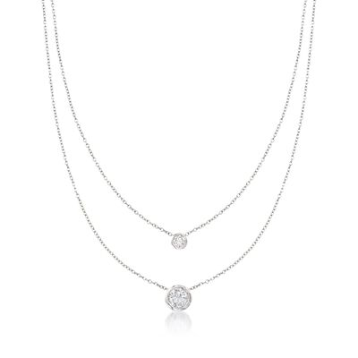 1.45 ct. t.w. Bezel-Set CZ Layered Necklace in Sterling Silver, , default