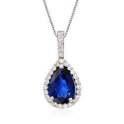 2.30 Carat Sapphire and .30 ct. t.w. Diamond Pendant Necklace in 14kt White Gold, , default