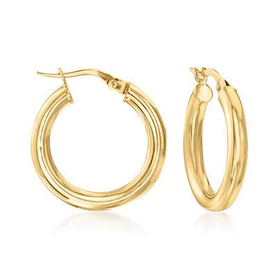 Italian 3mm 18kt Yellow Gold Hoop Earrings