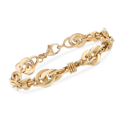 Italian 18kt Yellow Gold Circle and Oval Multi-Link Bracelet, , default