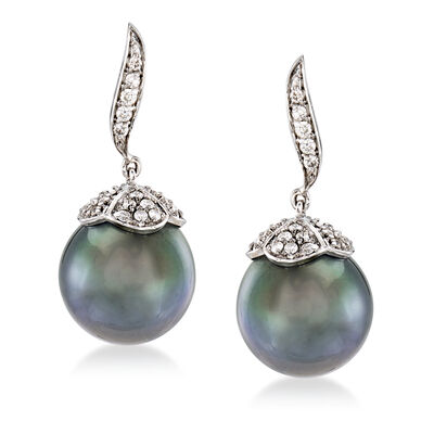 11-11.5mm Cultured Black Tahitian Pearl and .45 ct. t.w. Diamond Drop Earrings in 14kt White Gold, , default