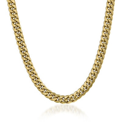 Men's 9.3mm 14kt Yellow Gold Cuban-Link Chain Necklace , , default