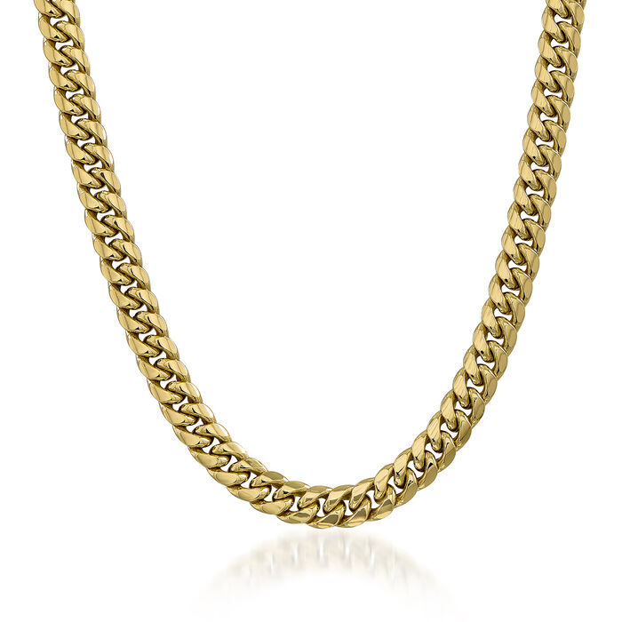 """Men's 9.3mm 14kt Yellow Gold Cuban-Link Chain Necklace. 22"""""""