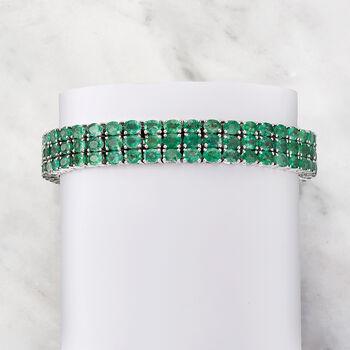 20.00 ct. t.w. Emerald Three-Row Tennis Bracelet in Sterling Silver, , default