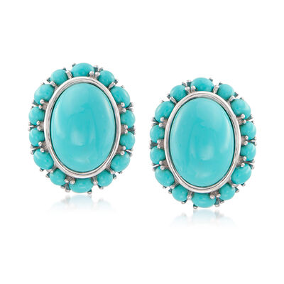 3-14mm Stabilized Turquoise Earrings in Sterling Silver, , default