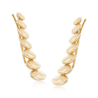 14kt Yellow Gold Graduated Oval Ear Climbers, , default