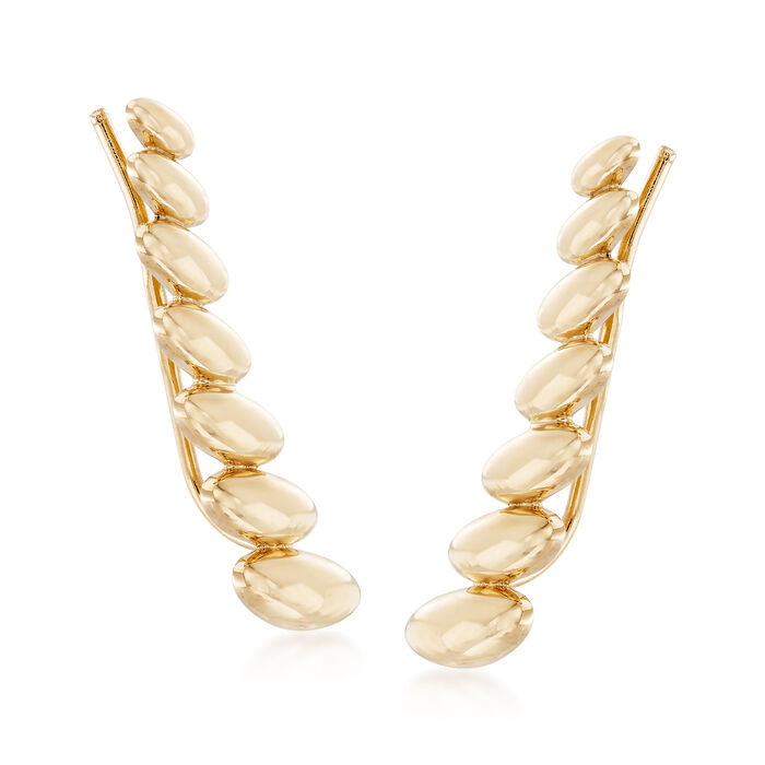 14kt Yellow Gold Graduated Oval Ear Climbers , , default