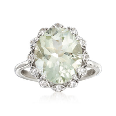4.40 Carat Green Prasiolite and .20 ct. t.w. White Topaz Ring in Sterling Silver