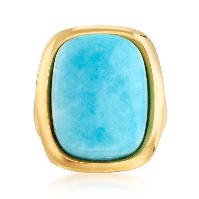 Italian Andiamo 14kt Yellow Gold and Amazonite Ring, , default