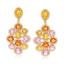 8.70 ct. t.w. Multicolored Sapphire and 1.00 ct. t.w. Diamond Drop Earrings in 18kt Yellow Gold, , default