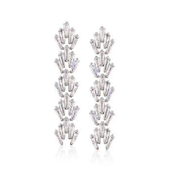 2.50 ct. t.w. Tapered Baguette CZ Drop Earrings in Sterling Silver, , default
