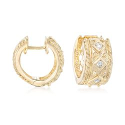 ".18 ct. t.w. Diamond Huggie Hoop Earrings in 14kt Yellow Gold. 1/2"", , default"