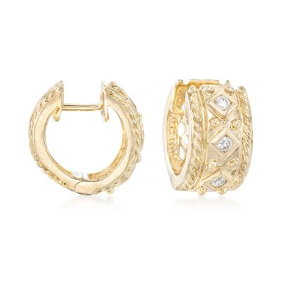 .18 ct. t.w. Diamond Huggie Hoop Earrings in 14kt Yellow Gold, , default