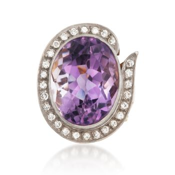 C. 1970 Vintage 23.00 Carat Amethyst and .75 ct. t.w. Diamond Ring in 18kt Two-Tone Gold. Size 7.5, , default
