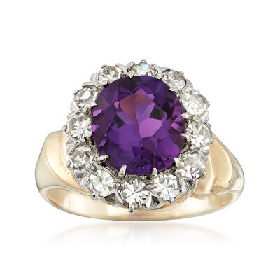 C. 1980 Vintage 2.20 Carat Amethyst and .75 ct. t.w. Diamond Ring in 14kt Yellow Gold