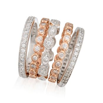 2.60 ct. t.w. CZ Jewelry Set: Five Eternity Bands in Two-Tone Sterling Silver. Size 5, , default