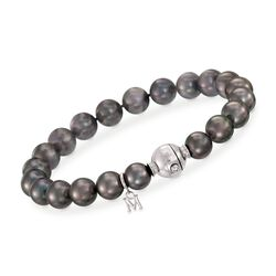 "Mikimoto 8-9mm A+ Black South Sea Pearl Bracelet With Diamond Accent and 18kt White Gold. 7"", , default"