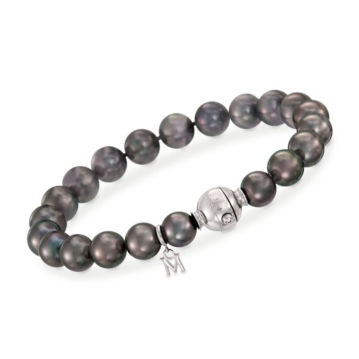 """Mikimoto 8-9mm A+ Black South Sea Pearl Bracelet with Diamond Accent and 18kt White Gold. 7"""", , default"""