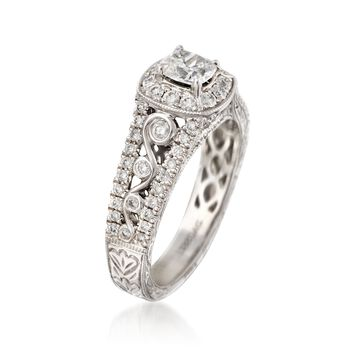 Henri Daussi 1.12 ct. t.w. Diamond Engagement Ring in 18kt White Gold. Size 6.5, , default