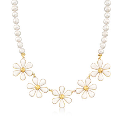 Italian Cultured Pearl and White Enamel Flower Necklace in 18kt Gold Over Sterling, , default