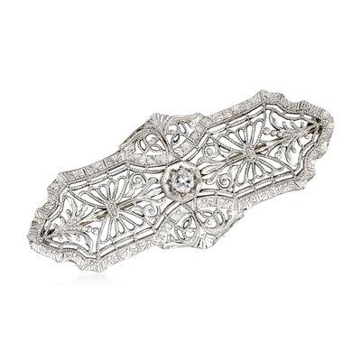 C. 1950 Vintage .10 Carat Diamond Filigree Pin in 14kt White Gold, , default