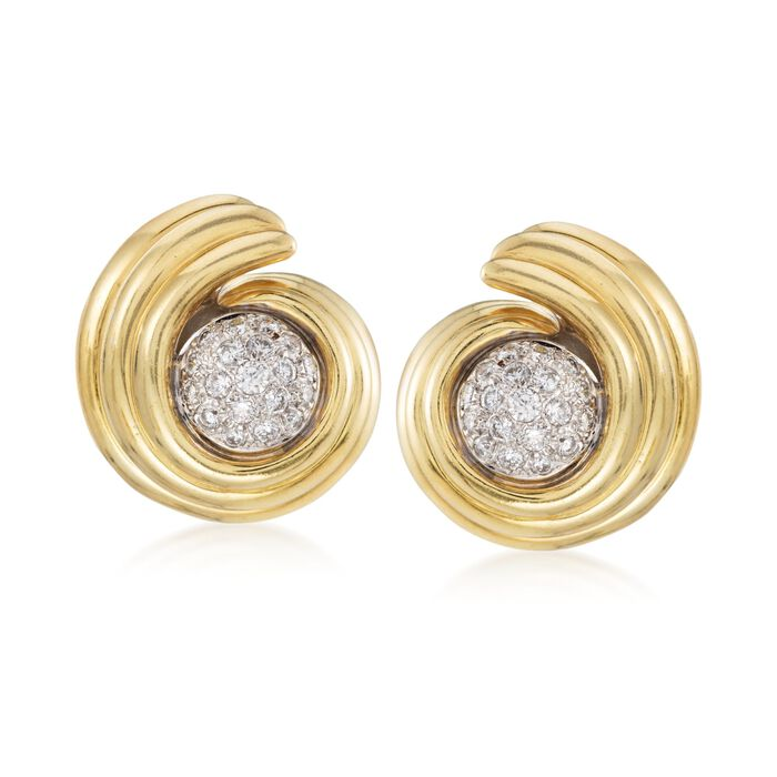 "C. 1980 Vintage 1.60 ct. t.w. Diamond Swirl Earrings in 14kt and 18kt Gold. 3/8"", , default"