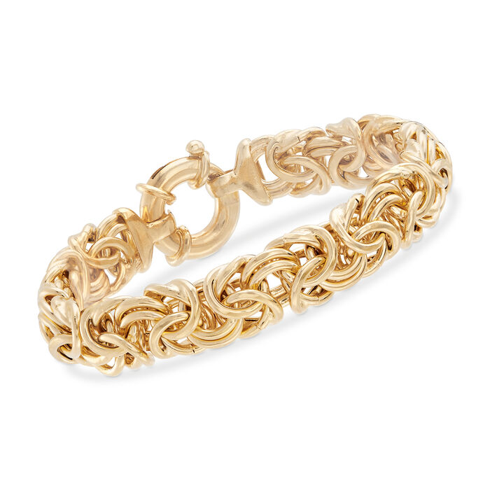 "Italian 18kt Yellow Gold Over Sterling Silver Large Byzantine Bracelet. 8"", , default"