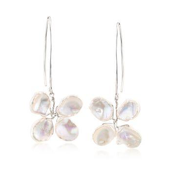 9-11mm Cultured Keshi Pearl Butterfly Earrings in Sterling Silver , , default