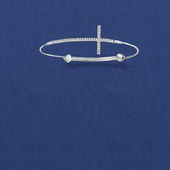Sterling Silver Sideways Cross Bangle Bracelet with Diamond Accents