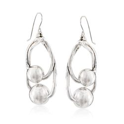 Sterling Silver Double Bead Drop Earrings , , default