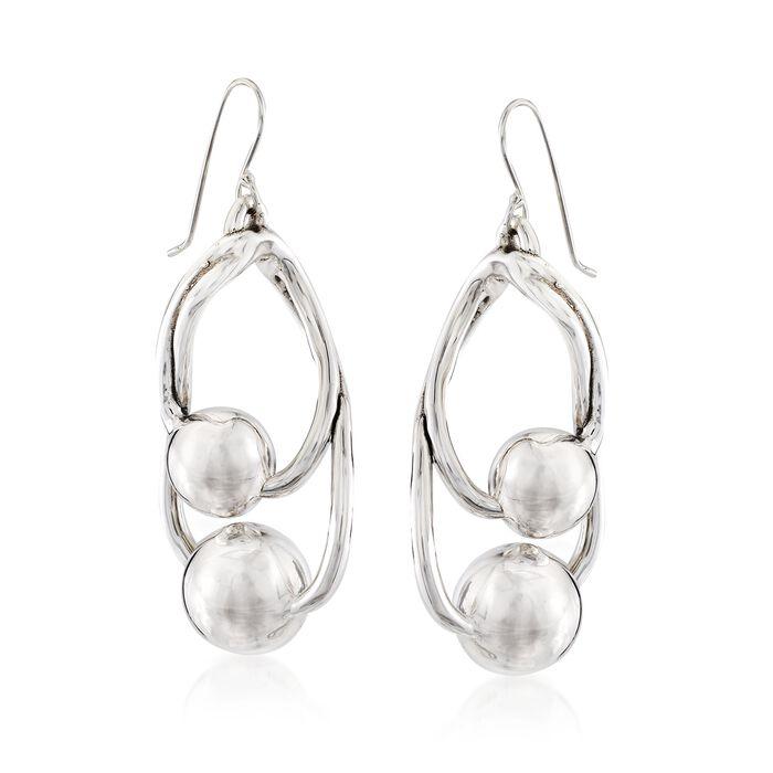Sterling Silver Double Bead Drop Earrings , , default