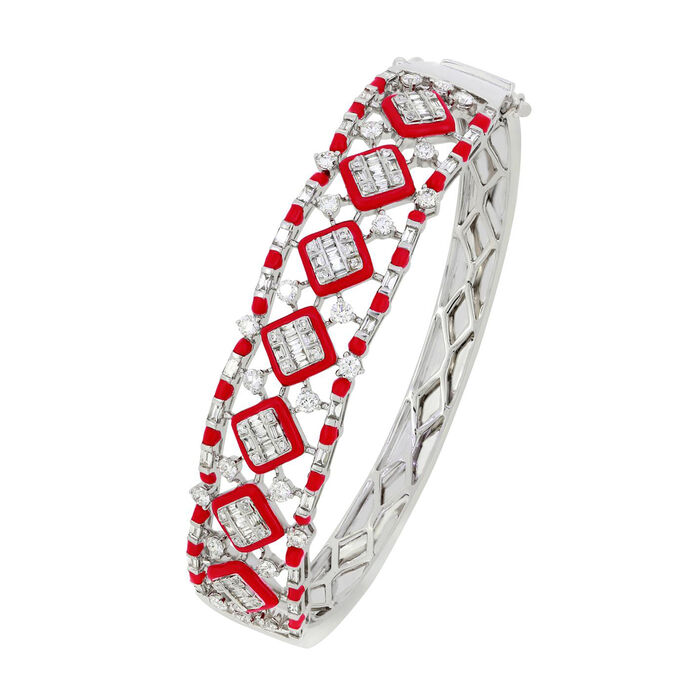 1.85 ct. t.w. Diamond and Red Enamel Bangle Bracelet in 18kt White Gold