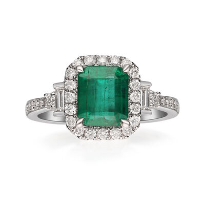 2.00 Carat Emerald Ring with .57 ct. t.w. Diamond Ring in 14kt White Gold