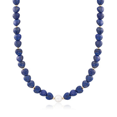Heart-Shaped Lapis Bead and 10-10.5mm Cultured Semi-Baroque Pearl Necklace With 14kt Gold, , default