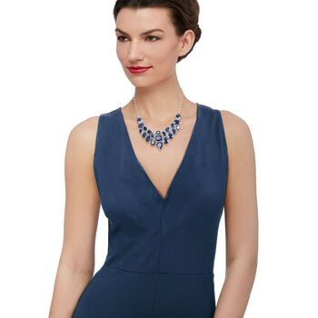 """66.00 ct. t.w. Sapphire Bib Necklace in Sterling Silver. 17"""", , default"""