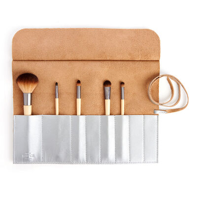 Royce Silver Leather Makeup Brush Roll