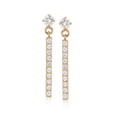 .25 ct. t.w. CZ Bar Drop Earrings in 14kt Yellow Gold