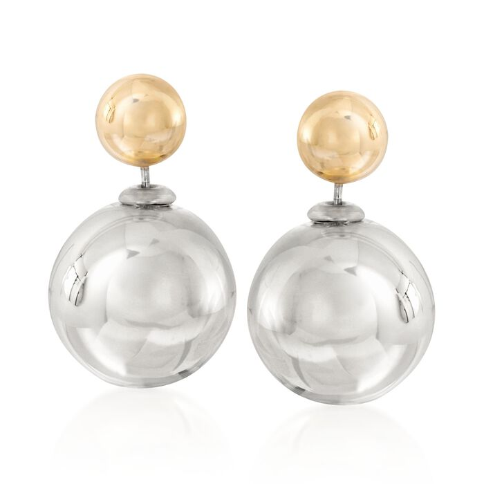 Italian 8-16mm Sterling Silver and 14kt Yellow Gold Bead Front-Back Earrings, , default