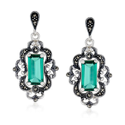 4.50 ct. t.w. Green Quartz and Marcasite Drop Earrings in Sterling Silver, , default