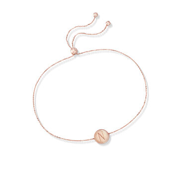 14kt Rose Gold Single Initial Circle Disc Bolo Bracelet, , default