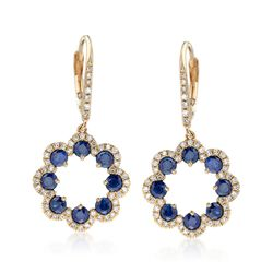 1.70 ct. t.w. Sapphire and .40 ct. t.w. Diamond Floral Drop Earrings, , default