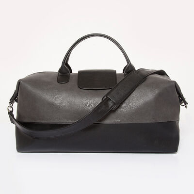 "Brouk & Co. ""Alpha"" Gray and Black Faux Leather Duffel Bag, , default"