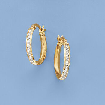 """1.05 ct. t.w. CZ Hoop Earrings in 14kt Yellow Gold. 5/8"""", , default"""