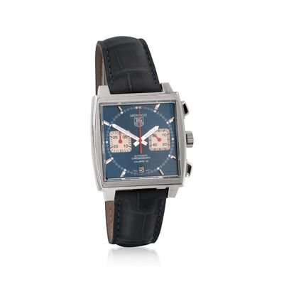 TAG Heuer Monaco Men's 39mm Chronograph Stainless Steel Watch With Blue Alligator Strap, , default