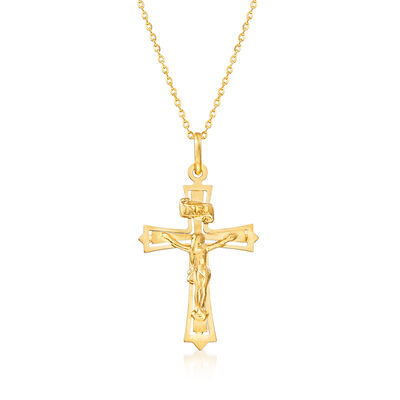 Italian 18kt Yellow Gold Crucifix Pendant Necklace, , default