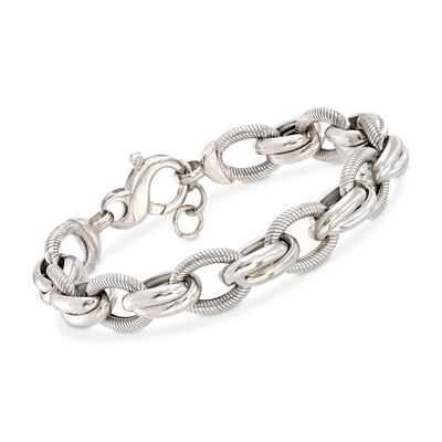 Italian Sterling Silver Textured and Polished Oval-Link Bracelet, , default